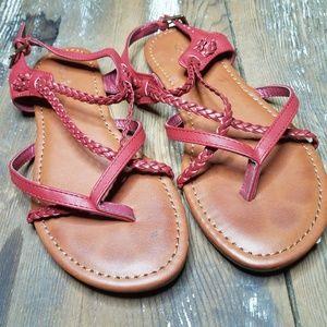 Curfew red strappy boho chic sandals